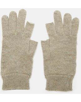 Cut-off Thumb And Index Knit Gloves In Grey