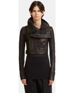 Cropped Leather Biker Jacket In Black
