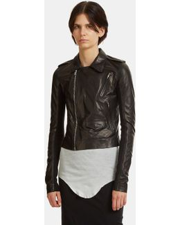 Classic Stooges Cropped Leather Jacket In Black