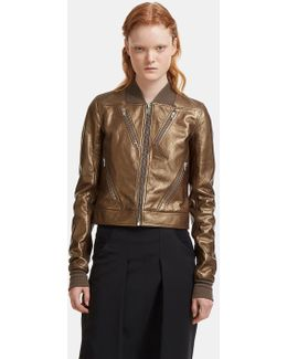 Chevron Metallic Leather Jacket In Gold