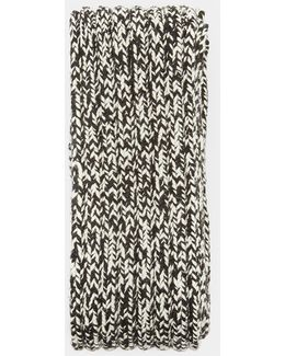 Chevron Knit Thick Ribbed Scarf In Black And White