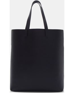 Rectangular Leather Tote Shopper Bag In Navy
