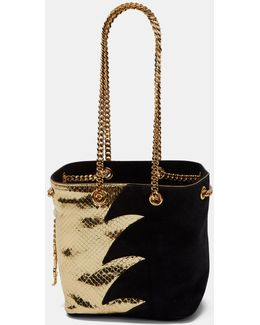 Women's Emmanuelle Metallic Snakeskin And Suede Bucket Bag In Black And Gold
