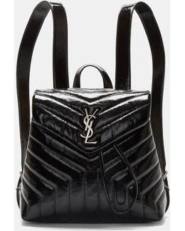 Small Lou Monogram Matelassé Patent Backpack In Black