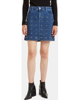 Metal Ring Denim Mini Skirt In Blue