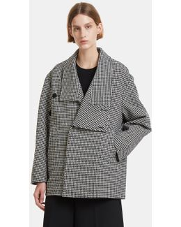 Oversized Houndstooth Wool Coat In Black And White