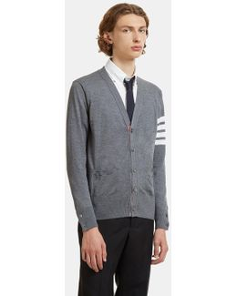 4 Bar Striped Merino Wool Cardigan In Grey