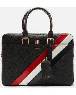 Black Diagonal Stripe Business Briefcase