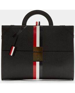 Pebble Grained Zipped Briefcase In Black