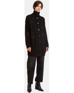 Butterfly Embroidered Oversized Knit Cardigan In Black