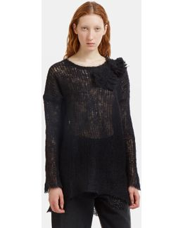 Oversized Floral Appliqué Holed Knit Sweater In Black