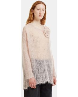Oversized Floral Appliqué Holed Knit Sweater In Blush Pink
