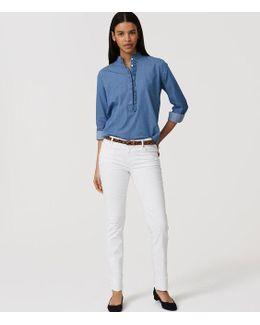 Tall Modern Frayed Cuff Straight Leg Jeans In White