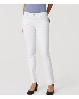 Tall Curvy Frayed Cuff Straight Leg Jeans In White