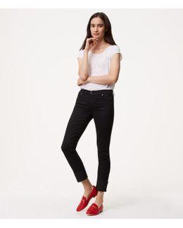 Tall Modern Frayed Cuff Straight Leg Jeans In Black