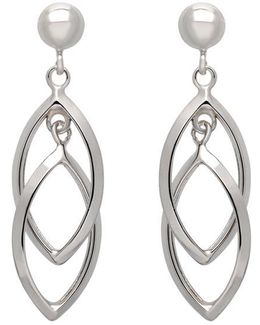 14k White Gold Textured Marquis Drop Earrings