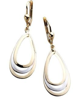 14k Two Tone Drop Earrings
