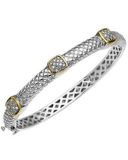 14k Gold And Sterling Silver Diamond Bracelet