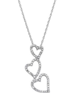 14 Kt. White Gold Diamond Heart Drop Necklace