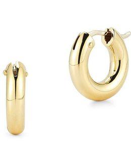 18k Yellow Gold Huggie Hoop Earrings/0.5