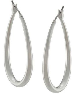 Silvertone Small Oval Hoop Earrings