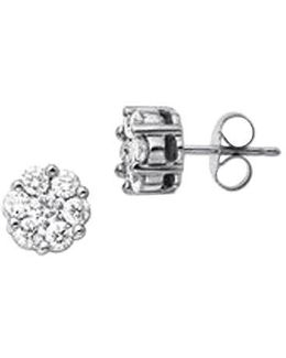 14 Kt White Gold 1.0 Ct T W Diamond Earrings