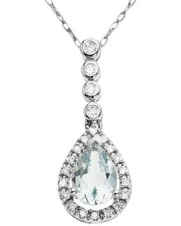 14 Kt. White Gold Aqua And Diamond Pendant Necklace