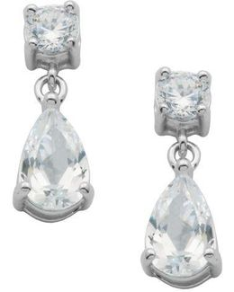 Platinum Plated-sterling Silver Cubic Zirconia Drop Earrings