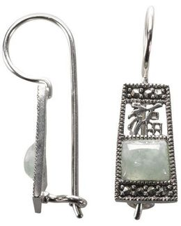 Sterling Silver And Marcasite And Jade Drop Earrings