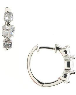 Platinum Plated Sterling Silver And Cubic Zirconia Huggie Hoop Earrings