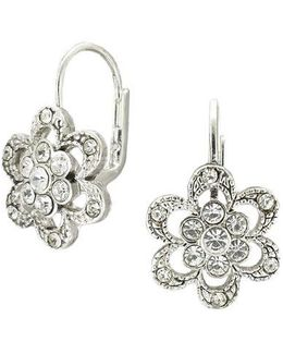 Silvertone Crystal Pave Flower Earrings