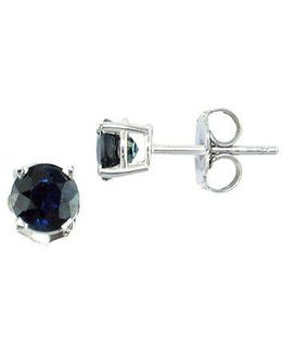 Royale Bleu Sapphire And 14k White Gold Stud Earrings