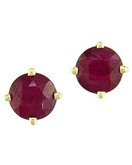 Ruby And 14k Yellow Gold Stud Earrings