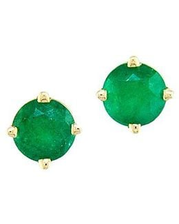 Emerald And 14k Gold Stud Earrings