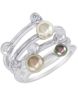 4mm Multicolor Round Pearl & Sterling Silver Endless Wrap Ring