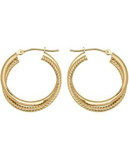 14k Yellow Gold Textured Hoops