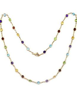 14 Kt. Yellow Gold Multicolor Station Necklace