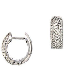 Diamond And 14k White Gold Pave Huggie Hoop Earrings, 0.53tcw