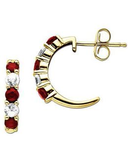 Ruby And Sapphire 14k Gold Hoop Earrings