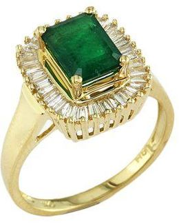 Brasilica Emerald And Diamond Ring In 14 Kt. Yellow Gold