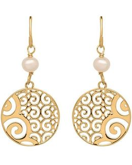 14k Gold Disc And Pearl Drop Earrings