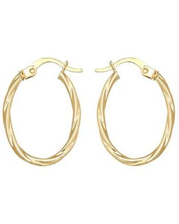 14k Yellow Twist Oval Hoop Earrings