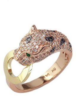 White And Black Diamond, Emerald, 14k Rose And Yellow Gold Ring, 0.66 Tcw