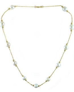 14 Kt Yellow Gold Pearl Station Necklace