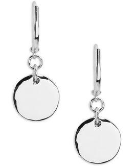 Double Disc Drop Earrings - Silvertone