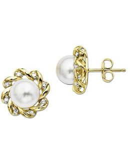 Freshwater Pearl Earrings With Diamonds In 14 Kt. Yellow Gold 5mm