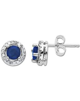 Sapphire And Diamond Earrings In 14 Kt. White Gold .1 Ct. T.w.