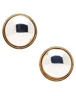Two-tone Button Stud Earrings