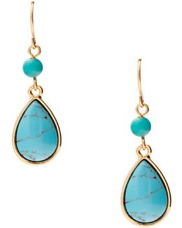 Paradise Found Turquoise & 14k Gold-plated Double-drop Earrings