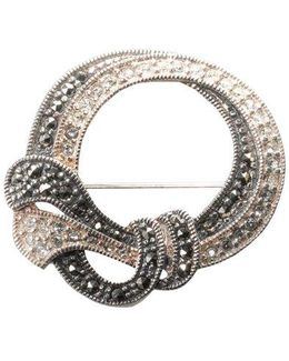 Sterling Silver And Marcasite Crystal Round Pin